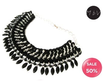 SALE 50% OFF Fashion Jewelry Modern Black Bib Necklace with Metal Chain, Cotton, and Black Plastic Pendant