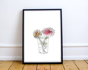 Bouquet Butterblume - Print 8 X 10 Illustration with watercolors