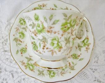 "Royal Albert ""Green Velvet"" Pattern Rose Chintz Series Bone China Footed Teacup and Saucer Gainsborough Shape"