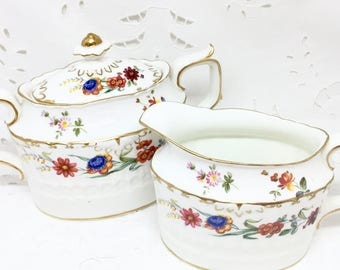 Collectible Royal Crown Derby Chatsworth Creamer and Sugar Bowl with Lid  (see details)