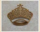 1 pc raw brass crown filigree embellishment queen princess stamping #4868