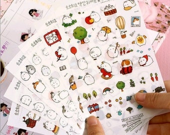 Japanese Kawaii mini fat rabbit Stickers Set for Card-making, album, diary stickers, planner, instax Film, scrapbook pages, Birthday card