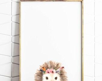 hedgehog print, hedgehog decor, hedgehog wallart, hedgehog printable, hedgehog decoration, hedgehog floral, hedgehog crowns, hedgehog print