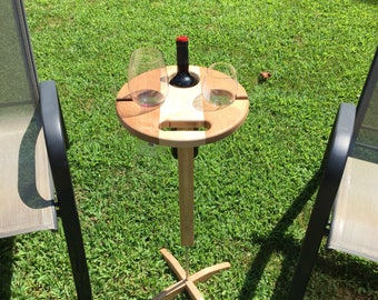 Wine table...Custom, wooden, portable, folding with detachable base