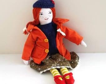 Heirloom Rag Doll, Handmade Cloth Doll, Doll named Annie