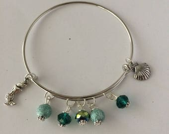 Mermaid Bangle, Mermaid Bracelet, Mermaid Bangle Bracelet, Mermaid Jewelry, Mermaid Charm Bracelet, Adjustable Bangle, The Little Mermaid