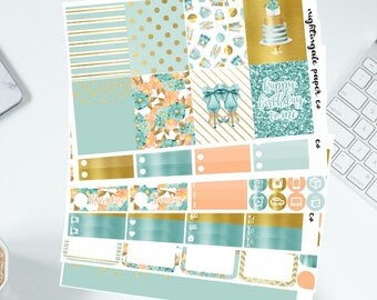 Blue & Gold Glitter Birthday Planner Sticker kit for use with Erin Condren Lifeplanner