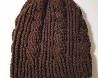 Crochet brown cable knit like hat