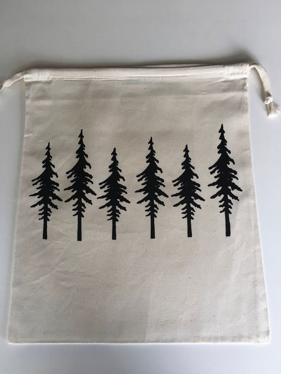 Hand Printed Cotton Drawstring Project Bag- Trees