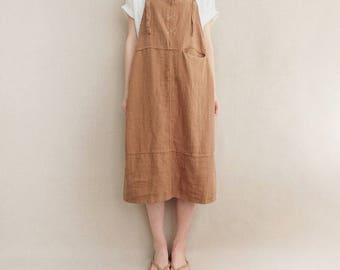 Women Comfortable Strap Dress Cotton Casual Linen Dress Vest Dress Leisure Overalls