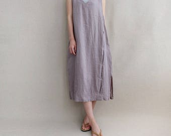 Women Summer Dress Vest Dress Comfortable Dress Simple Dress, Linen Tunic V Neck Dress, Asymmetrical Tunic Dress Linen Dress