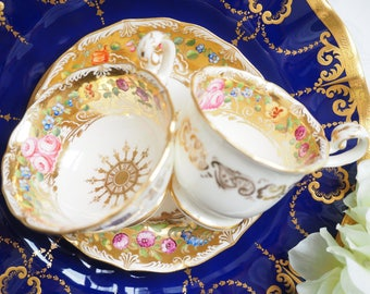 Antique Unmarked heavy gold teacup and coffee cup and saucer, trio 3pcs set