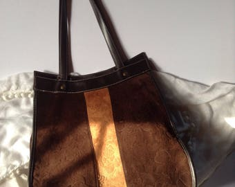 Vintage Extra Large Genuine Brown Suede Tote / Shopper / Carry All / Travel