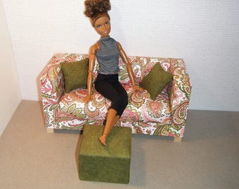 Doll Furniture Sofa, Pouf, and Pillows - Barbie Momoko, Blythe, Pullip, Fashion Dolls - 1:6 Playscale Living Room Diorama - Paisley Olive