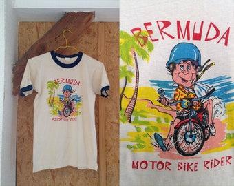 Tshirt 80s Bermuda Retro Shirt, Vintage Travel Graphic Tee Screen Print Motocycle Slogan 1980s, White Small Medium Ringer Tee