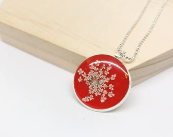 Lace Flower Necklace - Red