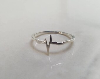 Heartbeat Ring - Sine - Delicate Ring - Heartbeat silver - Nordic Jewelry
