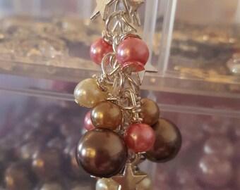 Hanging bead and stars handbag charm