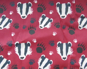 Badger fabric cotton fat quarter faces pawprints paw footprints wine red cute animal novelty print fat quarter ready to ship UK