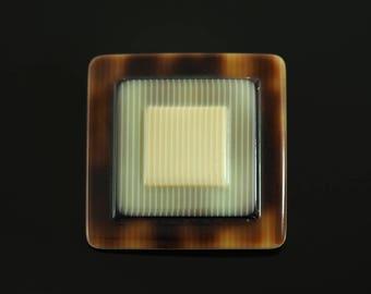 LEA stone brooch. Geometric square pin.