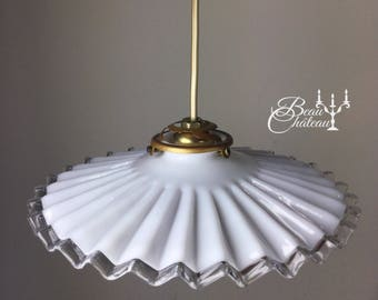 Glorious vintage French Milkglass lampshade crinkle design opaque glass