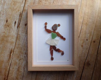 Sea glass dancer art picture / Sea glass / Sea glass art / Beach glass / Gift for dancer / Dancer gift idea / Dancer wall art / Ballerina