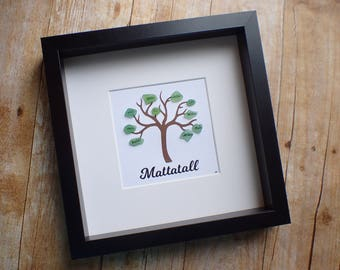 Original custom sea glass family tree art picture frame / Custom family name sign picture / Sea glass picture / Family tree / Sea glass art