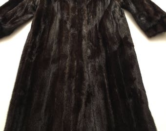 Dasco Brown Mink Fur Coat M Exquisite