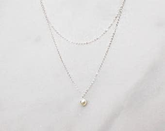 Pearl Bridesmaid necklaces, pearl necklace, pearl necklace set, silver bridesmaid necklaces