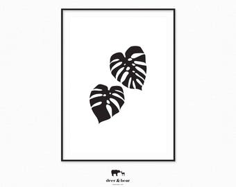 Monstera Print Monochrome Plant Minimalist Printable Botanical Art Modern Design Tropical Poster Large Art Chic Decor Scandinavian Wall Art