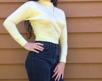 Vintage 60's Yellow Cropped Sweater