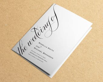 Folded Wedding Program, Rustic Wedding Programs, Wedding Program Template, Wedding Program Instant Download, Unique, WPC_1099