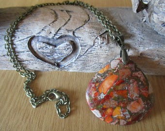 Orange and Brown Sea Sediment Jasper Pendant on a Antique Bronze Chain