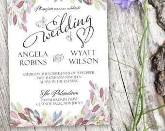Rustic Wedding Invitation Set | Customizable hand-painted wedding invitations for every price range | Free shipping and digital proofs