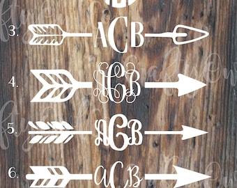 split arrow Monogram Decal, Mandala Monogram Decal, Monogram sticker, Laptop, Cooler, Yeti tumbler
