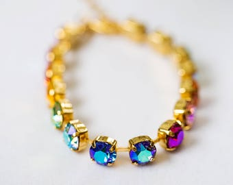 Swarovski Care Bears Rainbow Bracelet- Gold