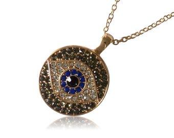 """Necklace """"Turkish eye"""" blue gold Nazar"""