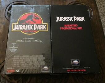 Jurassic Park Promo Screener & Movie VHS Lot of (2) 1993 HTF