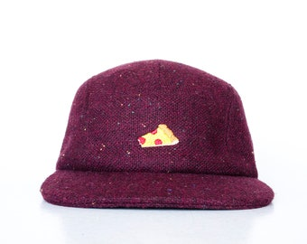 Red Tweed Wool 5 panel Cap