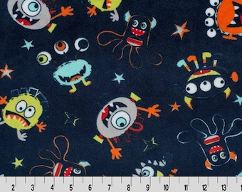 You Scared Me Cuddle Minky Fabric, Shannon Minky Fabrics, Alien Cuddle Minky Fabric, Monster Cuddle Minky Fabric, Fabric By The Yard