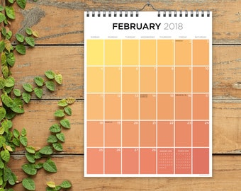 2018 For the Love of Color - Monthly Grid Hanging Wall Calendar