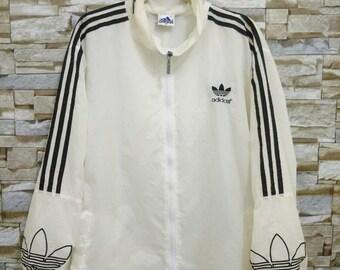 Vintage Adidas Stripes Windbreaker Jacket Hoodie Sweatshirt Embroidered Big Logo Adidas Medium