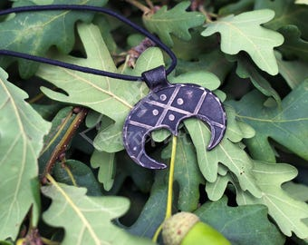 Hand forged lunula pendant with etching, Slavic pendant, viking pendant, for girl, for women