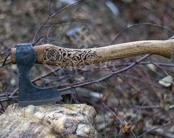 Hand Forged Viking Axe High Carbon Steel Leather Case, Hatchet, Viking Bearded Axe, Camp Hatchet,