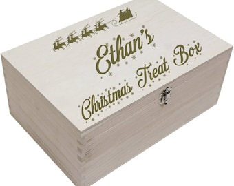 Personalised Wooden Christmas Treat Box For Xmas Children, Kids, Party