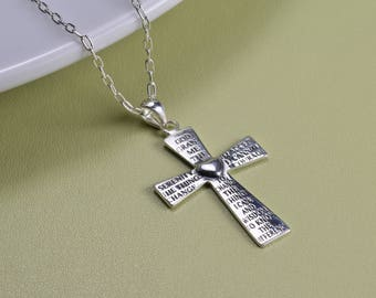 Sterling Silver, serenity prayer cross pendant necklace, everyday wear,