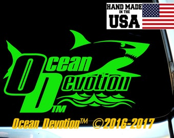 "Shark v2 ""Ocean Devotion"" Vinyl Decal/Sticker - Salt Life, Beach Life,Reel Life Surfing, Fishing, Paddle Boarding, Kite, Sea, Car, Boat"