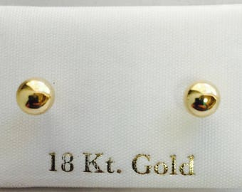 18k gold Stud Earrings 5mm ball shape for girls, teenagers and women - Pendientes aretes oro 18k para niña, chicas y mujer en forma de bola