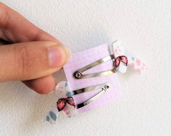 Mini hair clips Click - Clack village fabric floral pink
