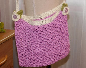 Pink and ecru cotton hand crocheted shoulder bag